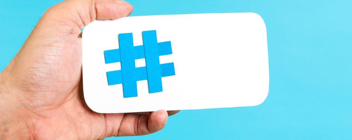 Mobile hashtag horizontal concept on blue background